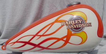 flames added to Harley logo
